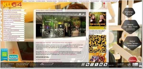 Personalmarketing: Website von KU64 mit Stellenangeboten und kununu-Verlinkung