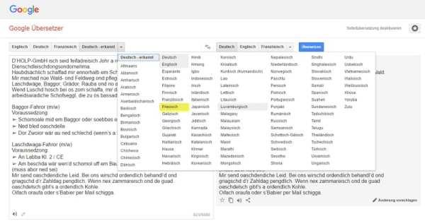 Google Translate kennt Friesisch, aber kein Schwäbisch