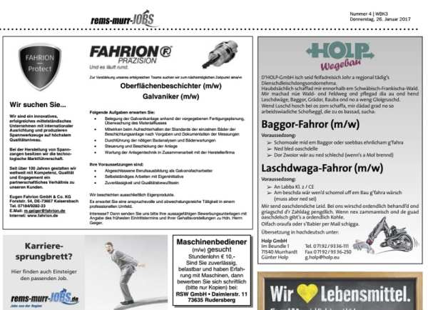 Personalmarketing auf Schwäbisch: Baggor-Fahror-Laschdwaga-Fahror - Stellenanzeige von Holp