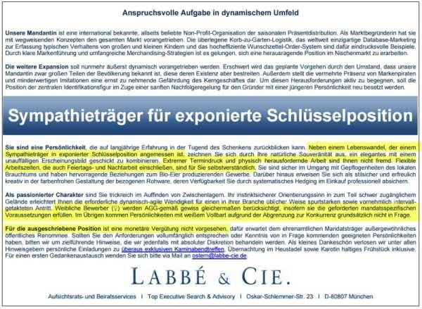 Stellenanzeige: Labbé & Cie. suchen Sympathieträger für exponierte Schlüsselposition