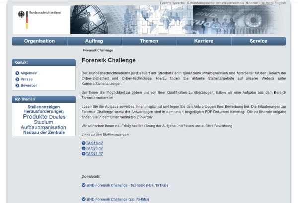 Forensik Challenge selbst ist gut versteckt und über die Navigation der Website nicht zu finden