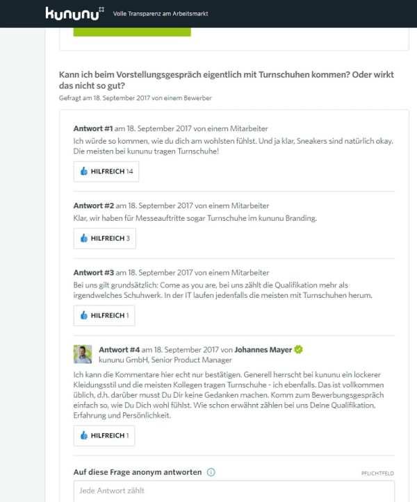 Das neue Fragen-Feature auf kununu - nun ist Interaktion auf kununu möglich