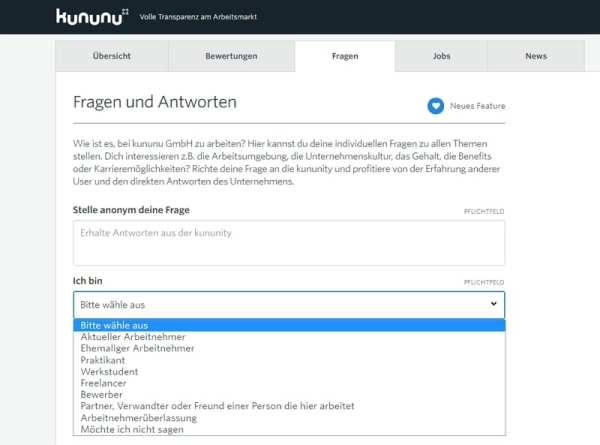 Neues Feature auf kununu - die kununity, die über den Tab 'Fragen' erreichbar ist