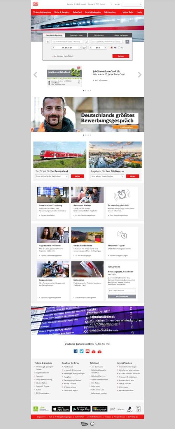 Die Bahn ruft auch auf ihrer Homepage zu Deutschlands groeßten Bewerbungsgespraech auf - Leider nicht, hierbei handelt es sich um eine Fotomontage - Bildmaterial: bahn.de