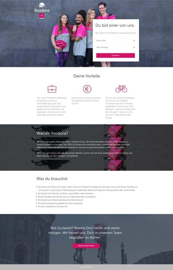 Job-Landing-Page von Foodora