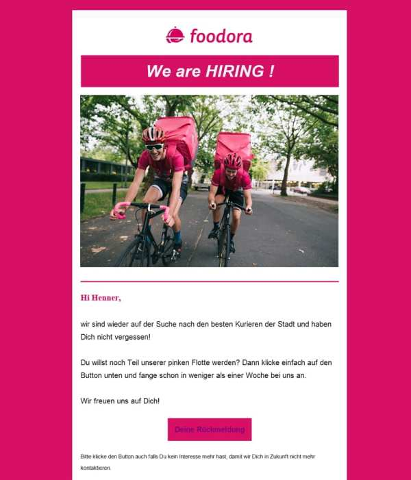 We are HIRING - Foodora laesst nicht locker