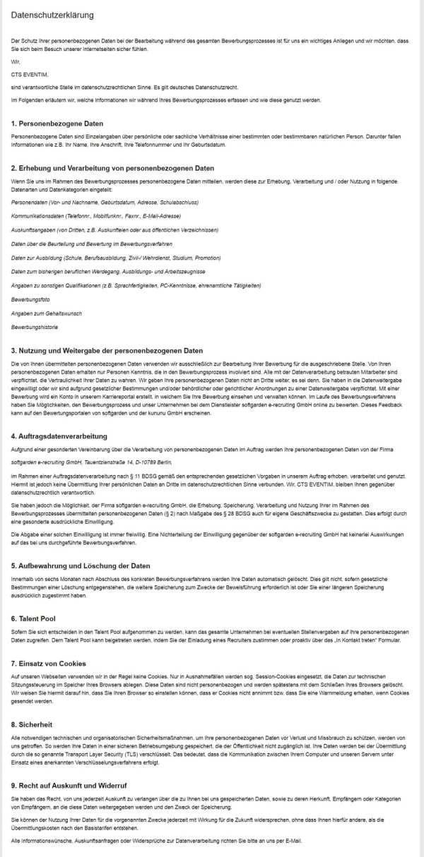 DSGVO - Beispiel für eine Datenschutzerklärung am Beispiel Softgarden