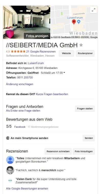 Google My Business als Employer Branding-Tool - Screenshot Seibert Media