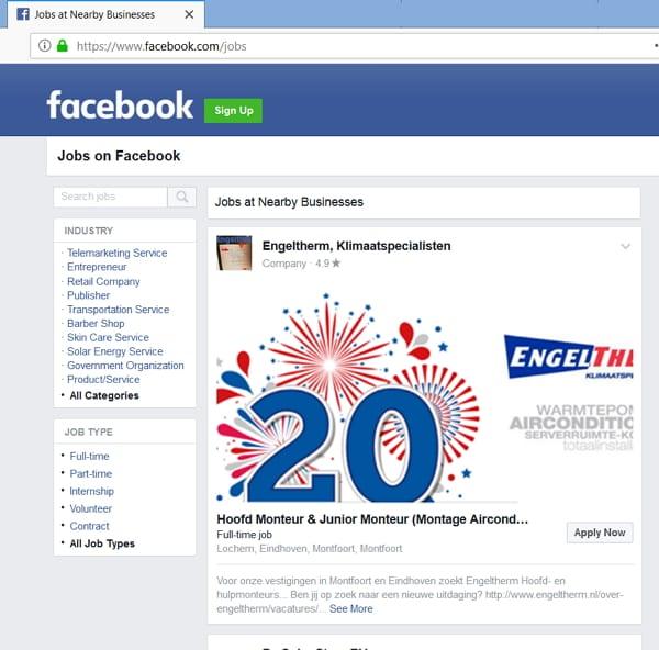 Facebook Jobs - Desktopansicht