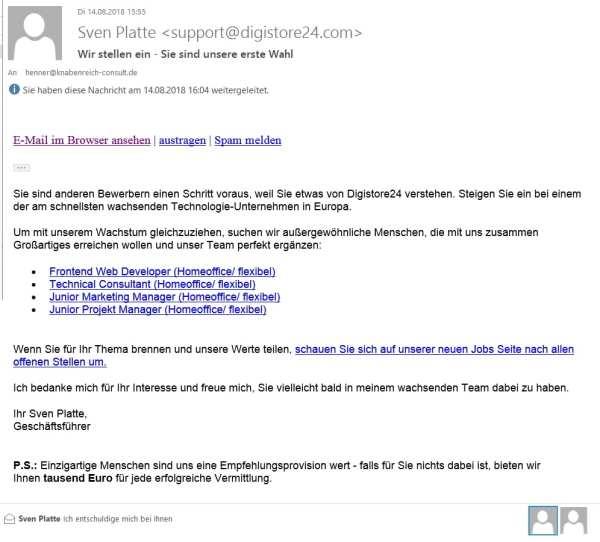 Bewerberansprache per Newsletter - am Beispiel Digistore24
