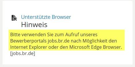 Bitte verwenden Sie zum Aufruf des Bewerberportals den Internet-Explorer