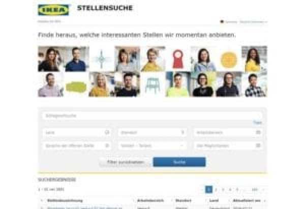 Die Ikea-Stellenbörse - Screenshot ikea.de