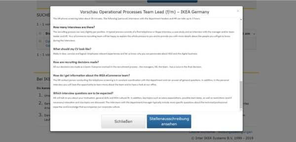 Bei IKEA gibt es die Stellenanzeige als Vorschau - Screenshot ikea.de