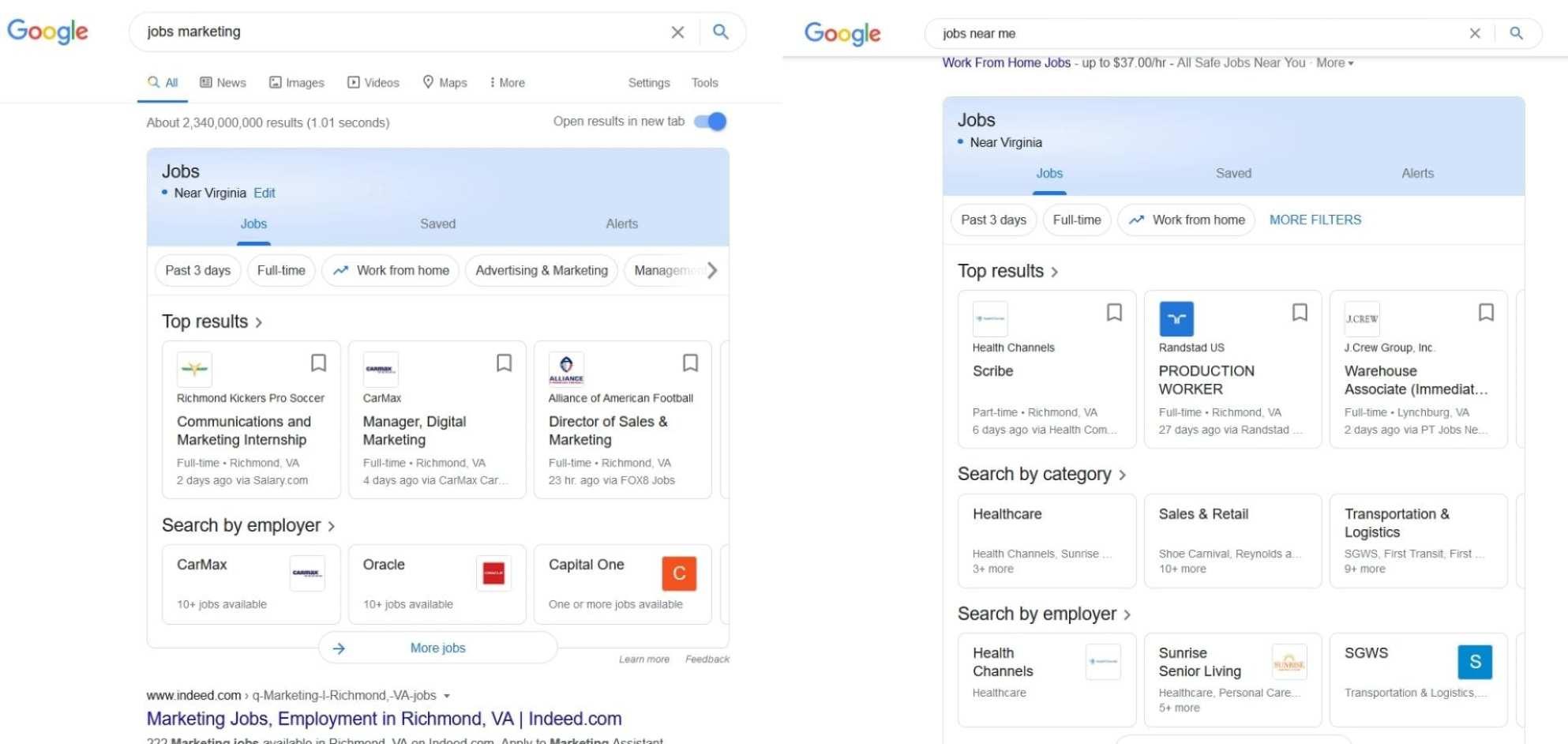 Google for Jobs- Die Ansicht ist abhängig von Suchanfrage u. a. Faktoren