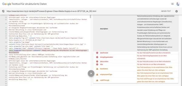 Google for Jobs - Fehlerhafte Daten machen das Aufsuchen der Stellen unmöglich - Screenshot Google