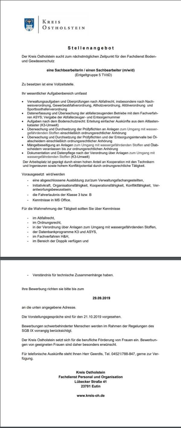 Stellenangebot Sachbearbeiter öffnet sich als PDF