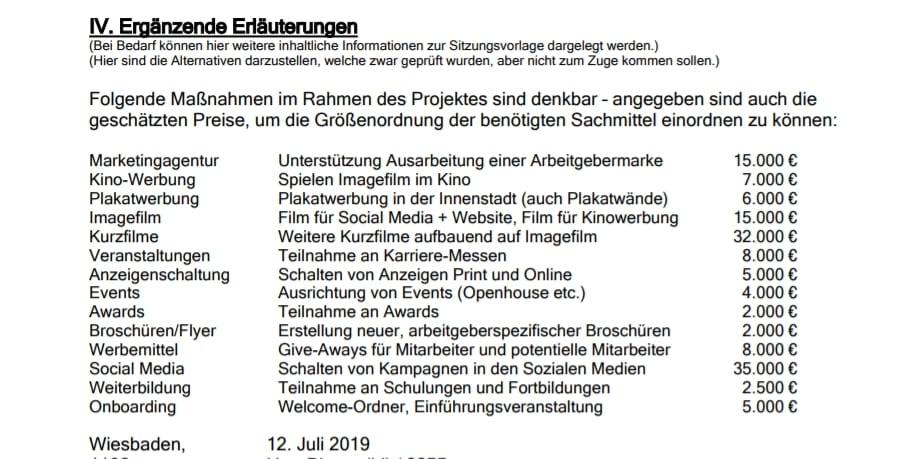 Maßnahmenkatalog der Stadt Wiesbaden in Sachen Arbeitgeberpositionierung. Die Karriereseite spielt keine Rolle