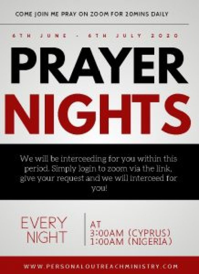 Join to pray at night (1 AM Nigerian time, 3 AM Cyprus time)