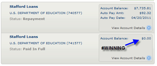 Student Loan #1 – Paid off! #Winning