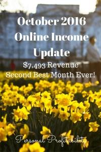 October 2016 Online Income Update - PersonalProfitability.com