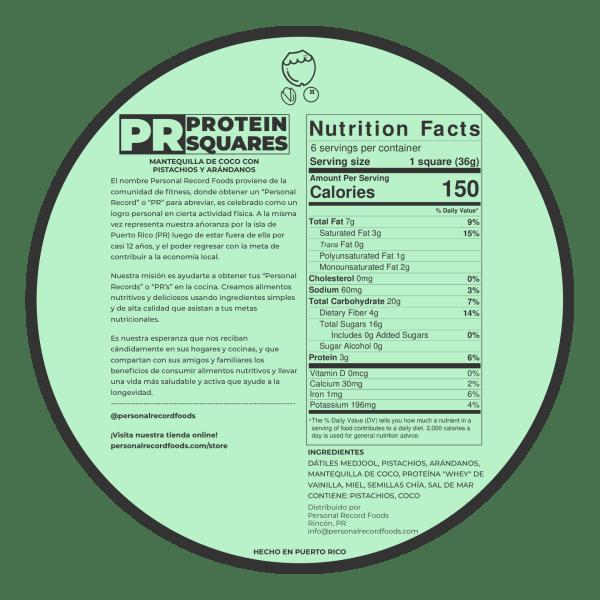 PR Protein Squares - Coco Pistachio Cranberry Nutrition Facts