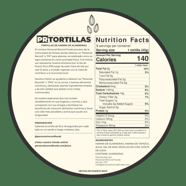 PR Tortillas Nutrition Facts