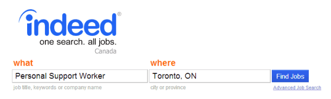 Searching PSW Jobs on www.indeed.ca