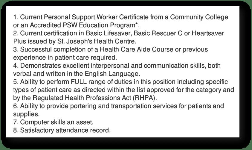 Future PSW job opportunities at St. Joseph's Health Centre