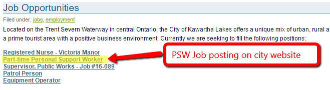 PSW Jobs with City of Kawartha Lakes
