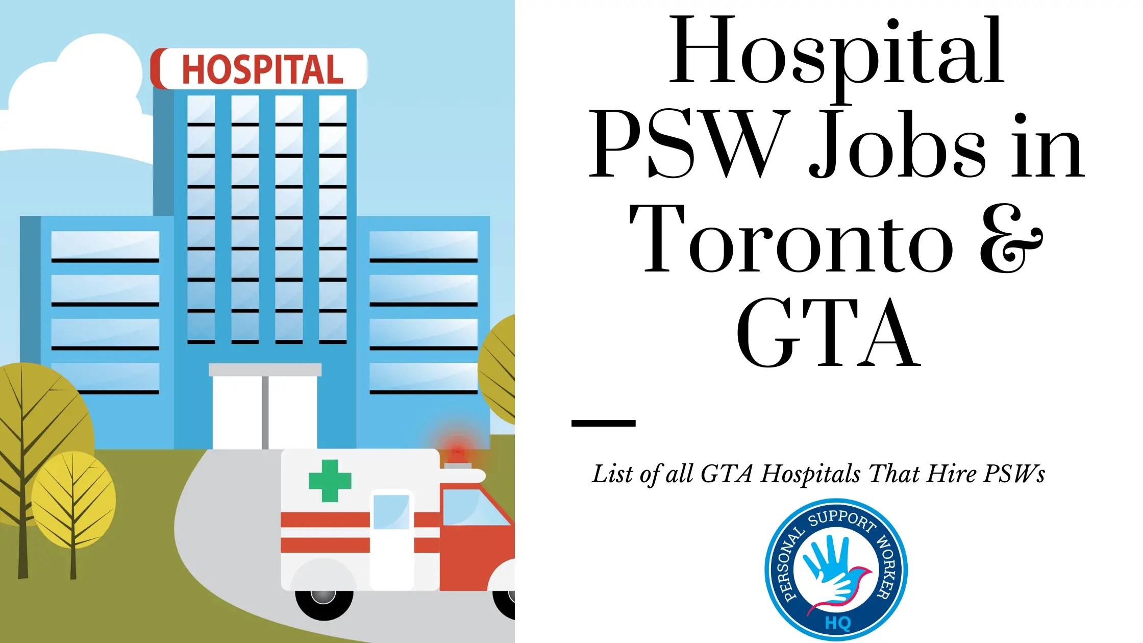 Hospital PSW Jobs in Toronto