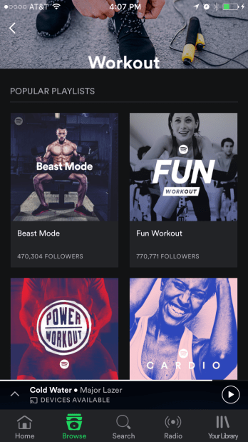 Find playlists on Spotify that match your mood when you get your Personal Trainer Food steps in.