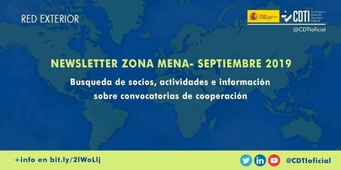 Newsletter cooperación tecnológica zona MENA septiembre 2019