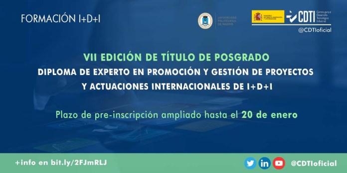 plazo preinscripcion 20 enero posgrado I+D+i