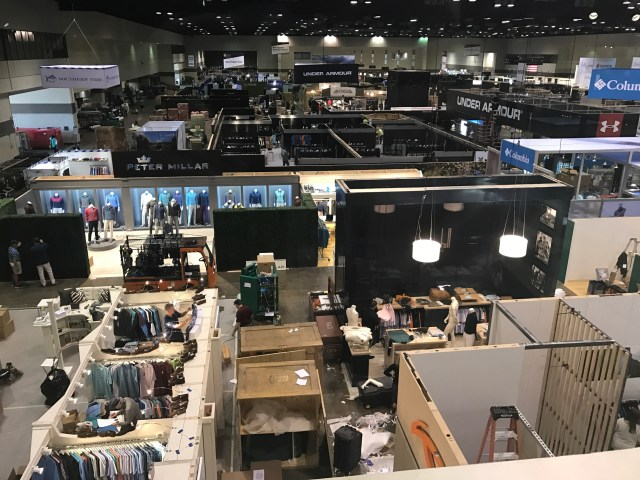 A bird's eye view of set-up day at the PGA Merchandise Show.