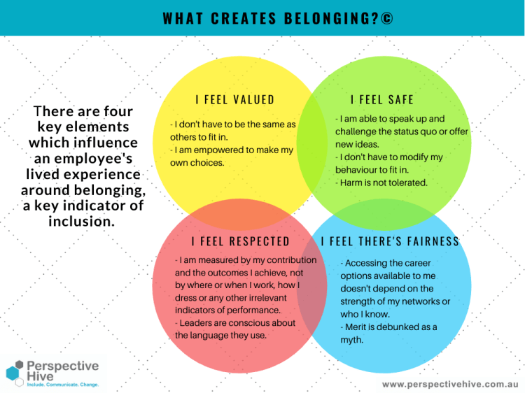 Belong is based on feeling valued, safe, respected and where there is fairness (graphic of four elements which influence an employees' lived experience around belonging)