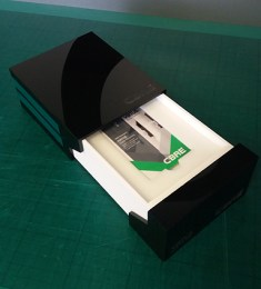Sliding Box with engraving and magnets to locate and shut.