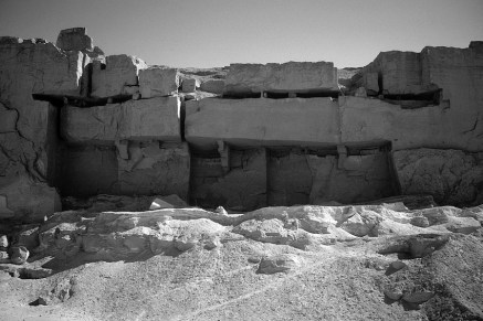 Horizontal slots undercutting large limestone blocks in the New Kingdom Sultan Pasha quarry near el-Minya. Photo by JAMES HARRELL.