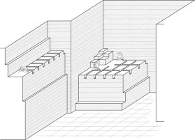 Characteristics of large-scale quarrying by multiple-block extraction on descending platforms typical of the New Kingdom and later. Drawing by JAMES HARRELL.