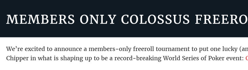 Colossus freeroll
