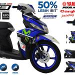 Modifikasi Yamaha Mio M3 Custom Cargloss painting Shop Monster Blue White Pertamax7.com