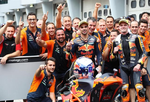 Miguel Oliveira, Brad Binder & Team KTM Moto2 Parc Ferme Sepang International Circuit 2017