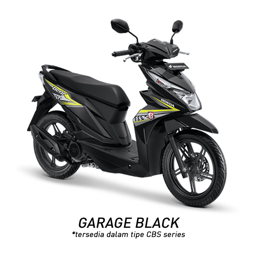 Honda Beat 2018 hitam strip kuning stabilo garage black