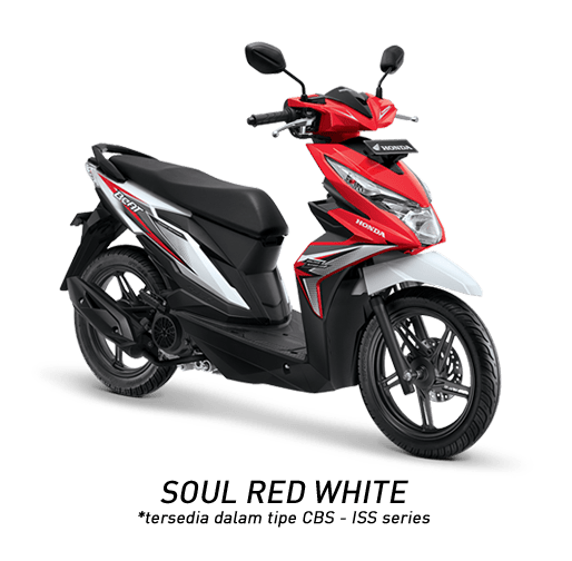 Honda Beat 2018 putih merah soul red white