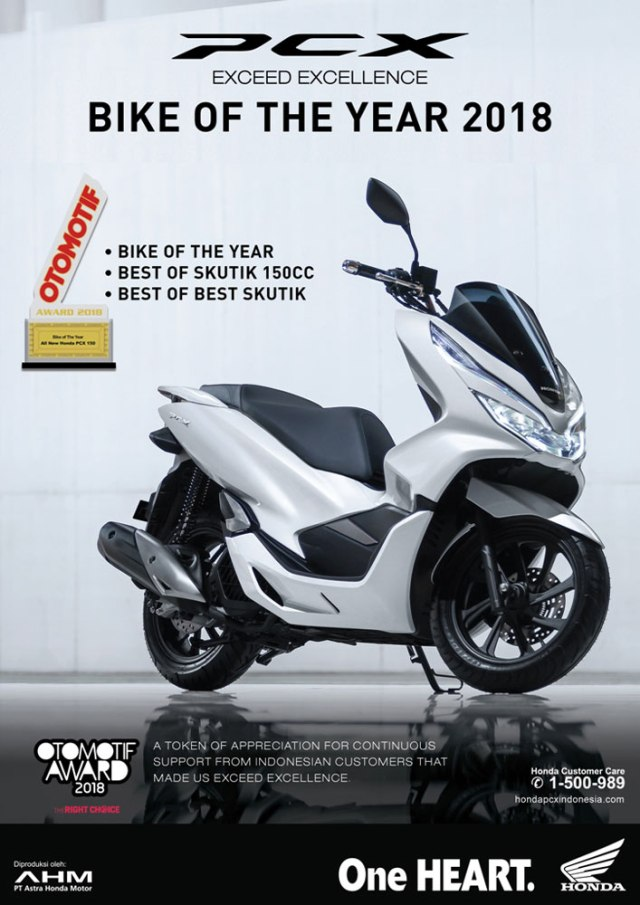 Honda PCX 150 Lokal Sabet 3 Piala Otomotif Award 2018 Bike Of The Year 2018