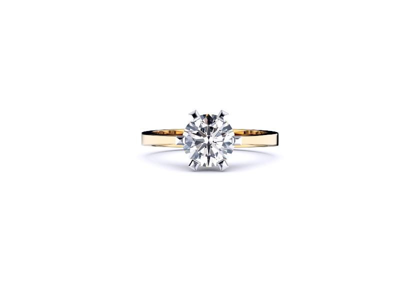 Perth diamonds engagement ring round solitaire with tap up band lay down view