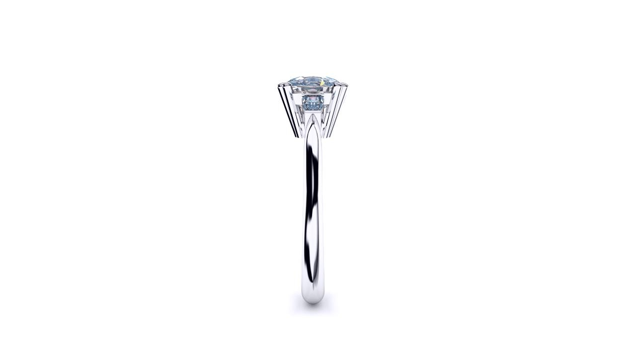 Perth diamonds engagement ring three stone cushion cut with tapered baguettes edge view