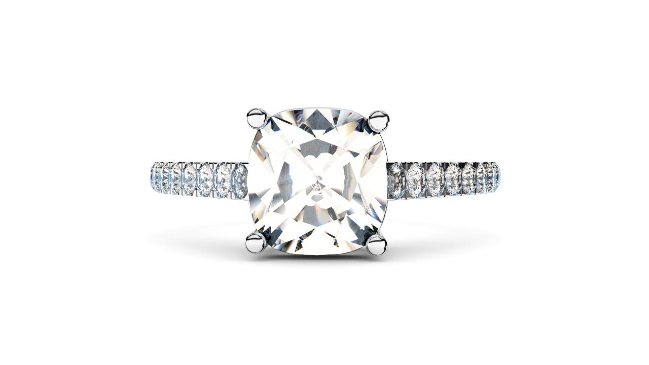 Perth diamonds cushion solitaire with diamond set band lay down