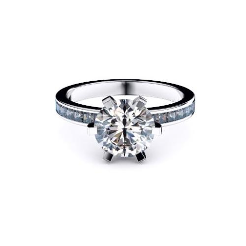 Perth diamonds engagement ring round solitaire with princess cut band lay down view