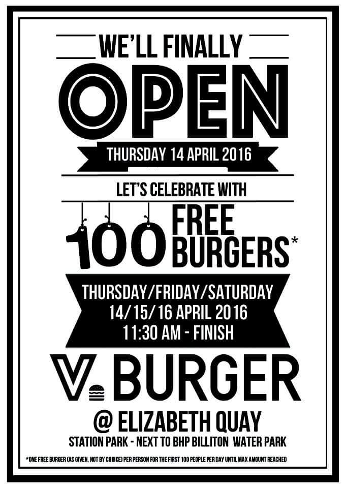 Free Burgers at V Burger Bar