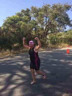 Karen glad to finish the swim